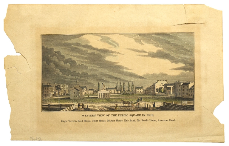 """A wood engraving of the """"Public Square in Chambersburg, As een on entering from the north. Washington Hote, German Reformed Church, Bank, Culbertson's Hotel"""". Pennsylvania Chambersburg."""