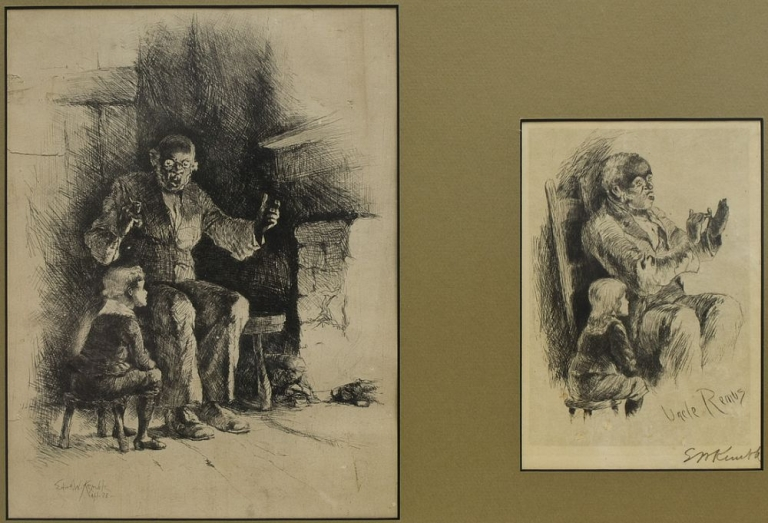 Uncle Remus. Two fine etchings of Uncle Remus telling Brer Rabbit stories to the Little Boy, 1888. One signed in pencil and the other in the plate and dated. Edward W. Kemble.