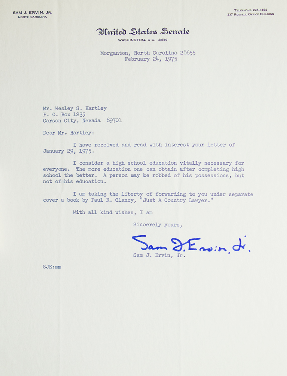 "Typed letter, signed ""Sam I. Ervin Jr"". Sam J Ervin, Jr."