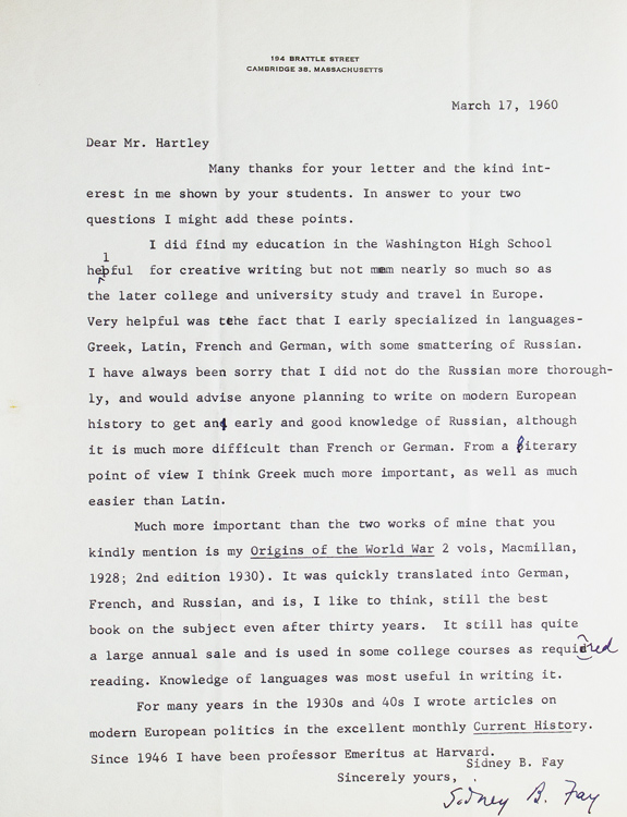"Typed letter, signed ""Sidney B. Fay"". Sidney B. Fay."