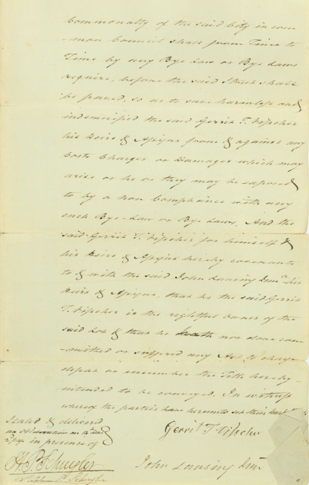 """Manuscript Indenture, signed (""""John Lansing, Jun""""), between Gerrit T. Vischer and Lansing for the sale of a tract of land in Albany from for one dollar. John Lansing."""