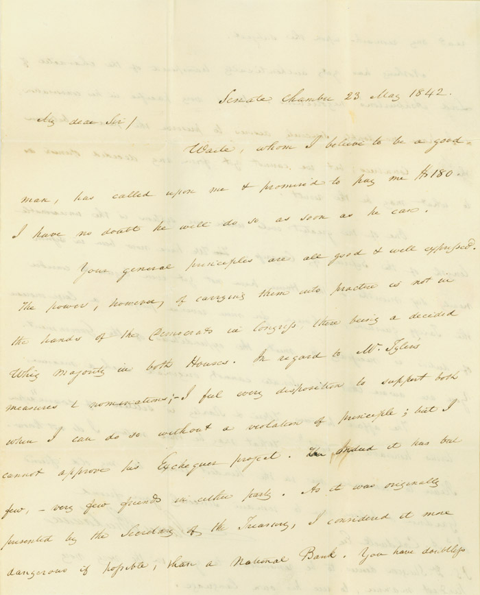 Autograph Letter, signed. To James A. Caldwell. James Buchanan.