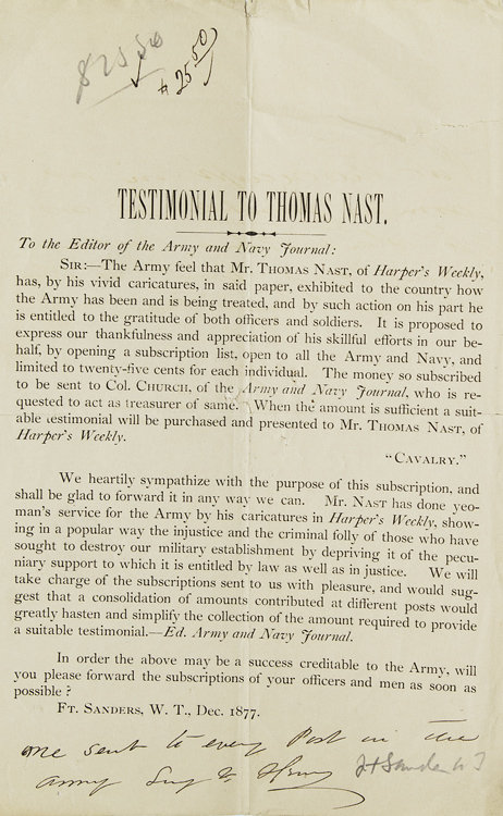 [Broadside circular:] Testimonial to Thomas Nast [with:] Four related handwritten letters regarding Thomas Nast. Thomas Nast.