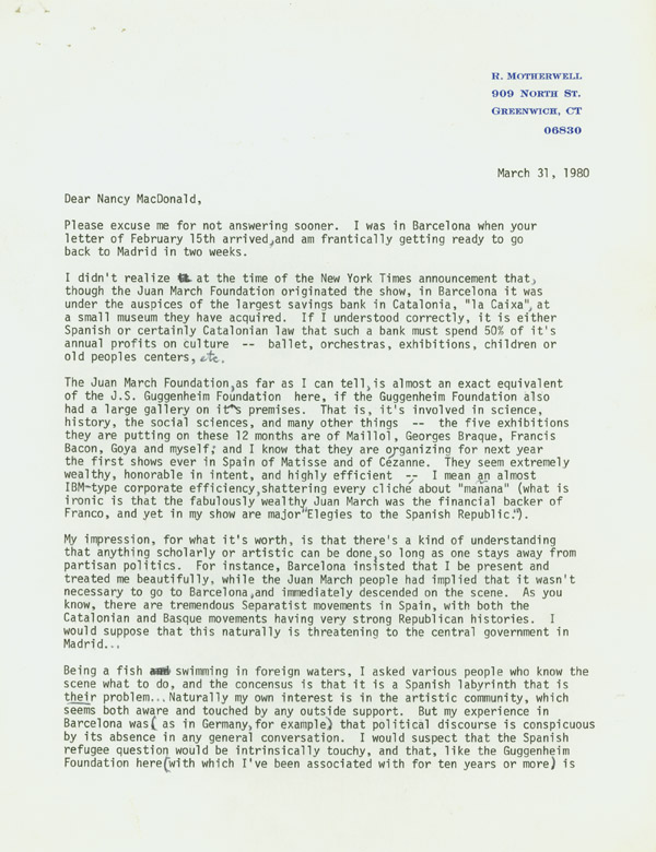 "Typed Letter, signed (""Robert Motherwell""), to Nancy McDonald of Spanish Refugee Aid Inc. of NY. Robert Motherwell."