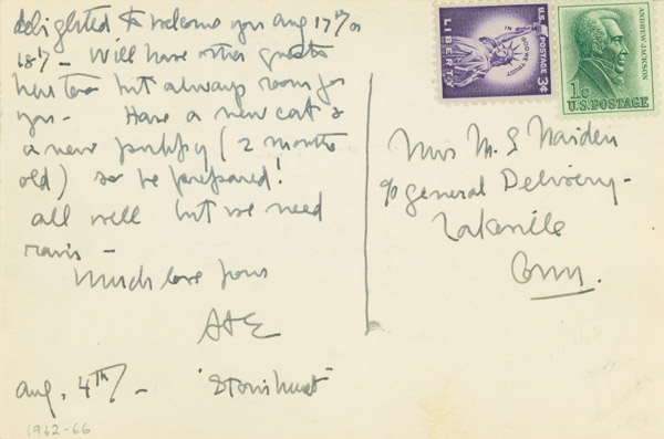 """Autograph Note, signed (""""DDE""""), to Mrs. Mary S. Naiden, on picture postcard of Pavillon von Wied. Dwight D. Eisenhower."""