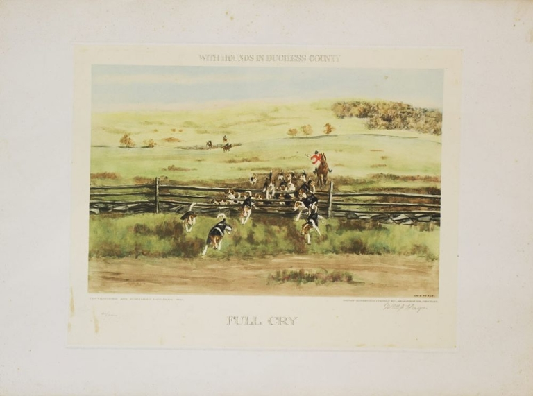 "Two hand-colored prints entitled ""The First Flight"" and ""Full Cry"" with a General Title of each ""With Hounds in Duchess County"" William J. Hays."