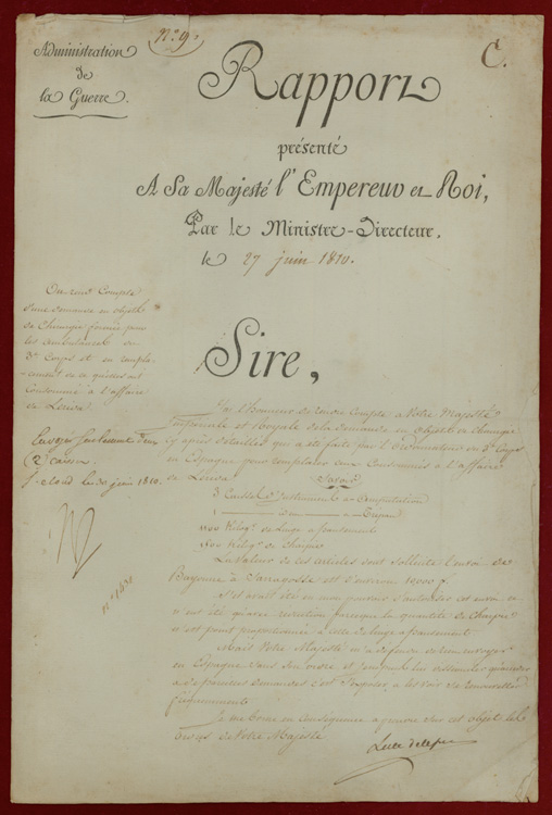 """Autograph endorsement signed (""""Np"""") on a Document from the Ministry of War, reporting on the need of surgical supplies for the 3me Corps in Spain. Napoléon."""