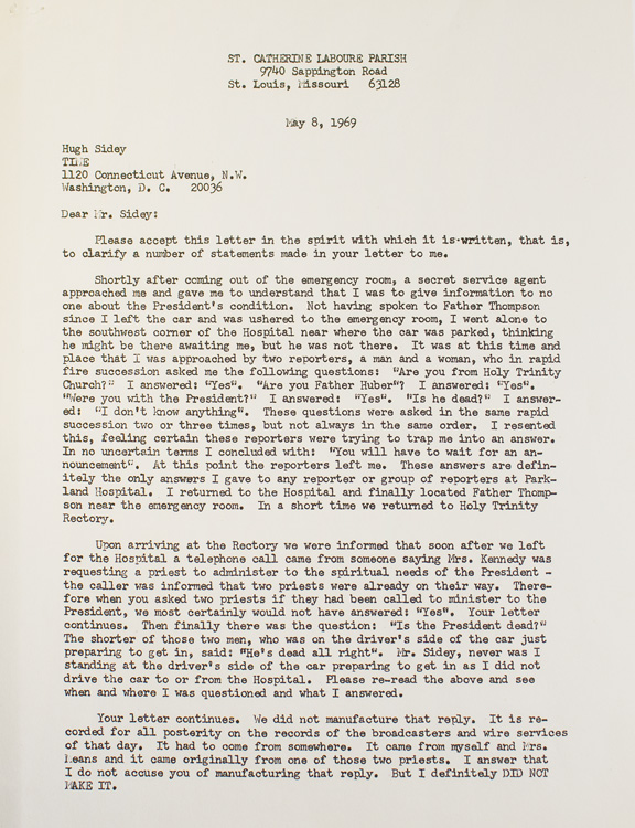 Three Typed Letters, Signed, from Rev. Oscar Huber to Time Magazine Correspondent Hugh Sidey, and Two Typed Letters, Signed, from Sidey to Huber, Regarding the Assassination of President John F. Kennedy. John F. Kennedy, Hugh Sidey, Rev. Oscar L. HUBER.