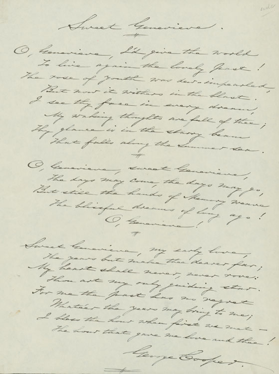 """Autograph Manuscript signed (""""George Cooper""""), fair copy, of the lyrics to the song """"Sweet Genevieve"""". George Cooper."""