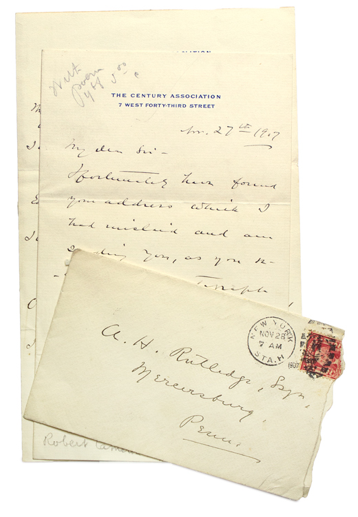 "Autograph Manuscript, signed, fair copy, of ""The Rosary."" With cover Autograph Letter, signed, to A.H. Rutledge (""I expect soon to reciprocate your kindness in sending me your book of verse. by one of mine …"") of Mercersburg, Pennsylvania. Robert Cameron Rogers."