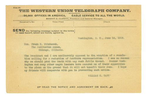 Copy of telegram to Frank H. Hitchcock, Republican Party Chairman. William Howard Taft.