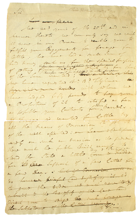 Draft of an Autograph Letter to John Voorhees discussing Forage for the Army. William Paca.