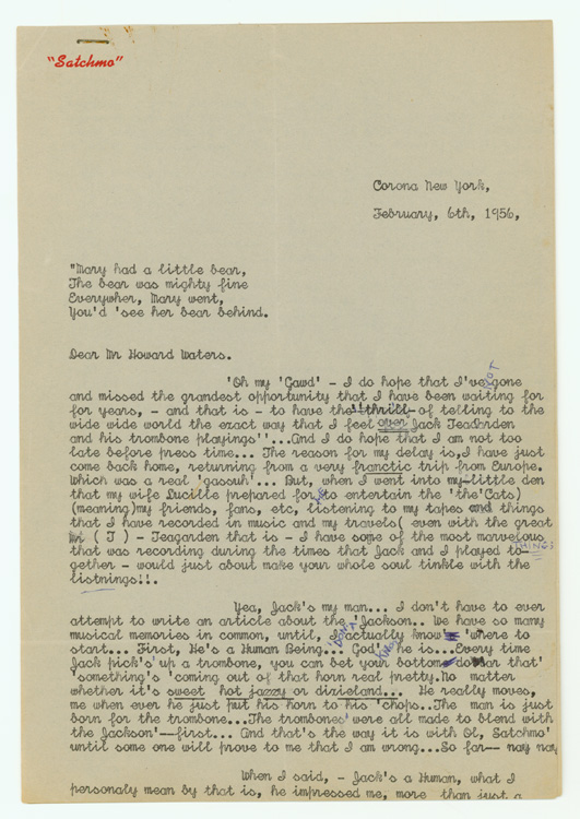 """Typed Letter, signed (""""Louis Satchmo Armstrong"""") regarding Jack Teagarden, to Howard Waters, author of JACK TEAGARDEN'S MUSIC, HIS CAREER AND RECORDINGS (1960). Louis Armstrong."""