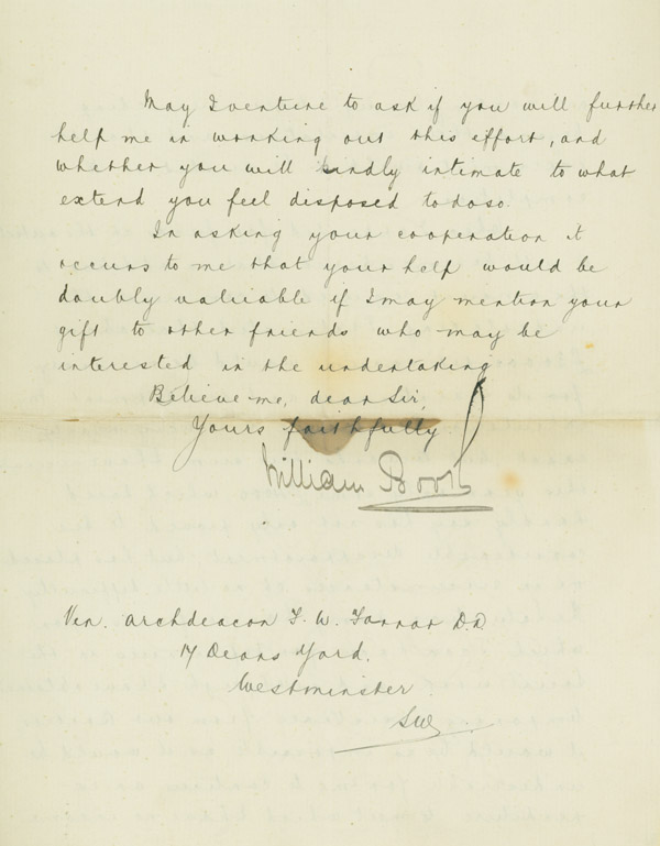 """Holograph Letter (in secretarial hand), signed (""""William Booth"""") by Booth, to Archdeacon F.W. Farrar. William Booth."""