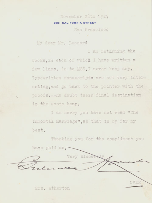 """Typed Letter, signed (""""Gertrude Atherton"""") to """"Mr. Leonard"""", returning inscribed books, with remarks on her manuscripts and identifying her best book. Gertrude Atherton."""