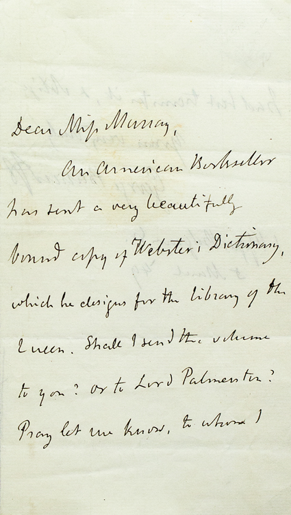 """Autograph Note, signed (""""George Bancroft""""), to Miss Murray. George Bancroft."""