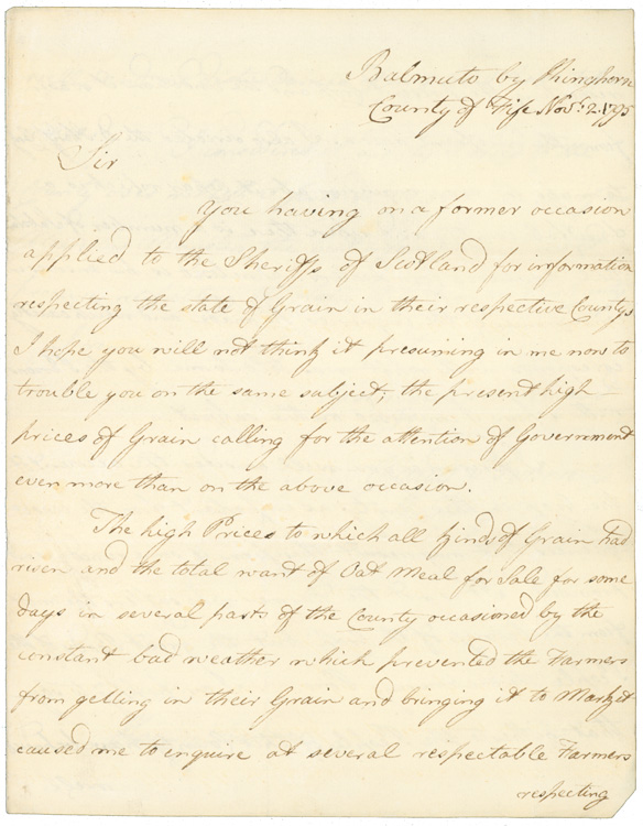 """Autograph Letter, signed (""""Claud I. Boswell, Sheriff of Fife""""), to First Viscount Melville Hanry Dundas. Claude Irvine Boswell, Lord Bamuto."""