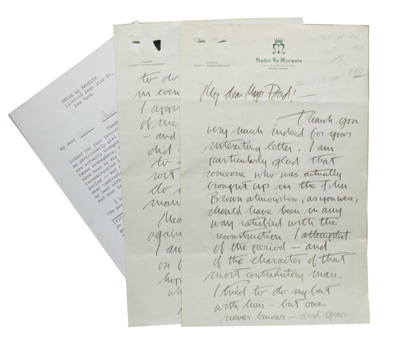 "Autograph Letter, signed, to the literary agent, Major Pond, on Benêt's ""John Brown's Body"" and a possible lecture series under Pond's management. Stephen Vincent Benêt."
