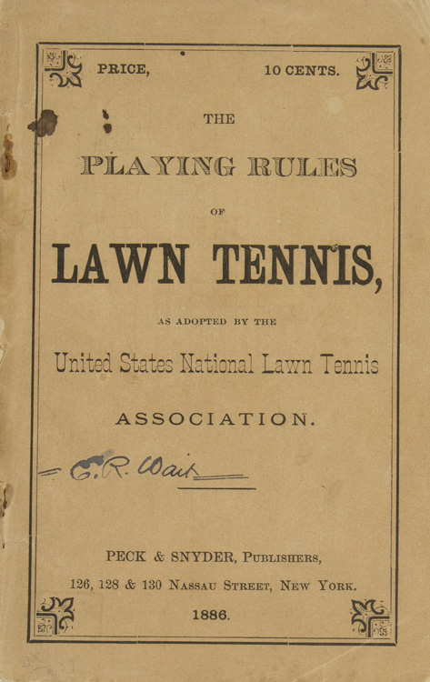 The playing rules of lawn tennis as adopted by the United States National Lawn Tennis Association. Tennis.