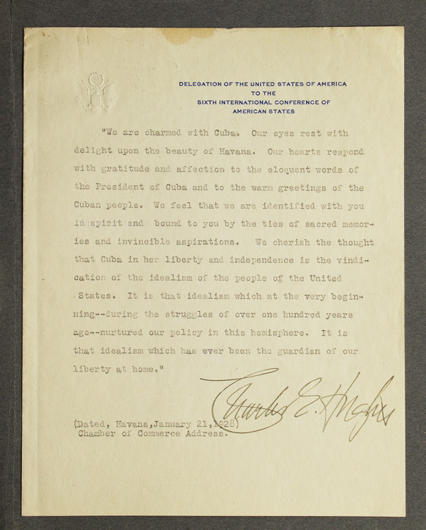 Typed Manuscript , Signed. A part of Chamber of Commerce Address on Cuba. Cuba, Charles Evans Hughes.