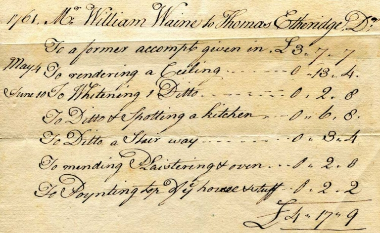 "Account for Painting ""1761. Mr. William Waine to Thomas Etheridge, Dr;..."""