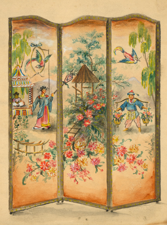 Watercolor drawings of leather screens made for George D. Thompson & Co. of 464 Fourth Avenue, New York. Interior design.