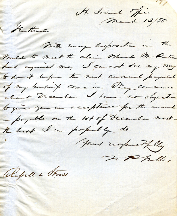 Autograph Letter, signed. To Russell & Storrs. N. P. Willis.