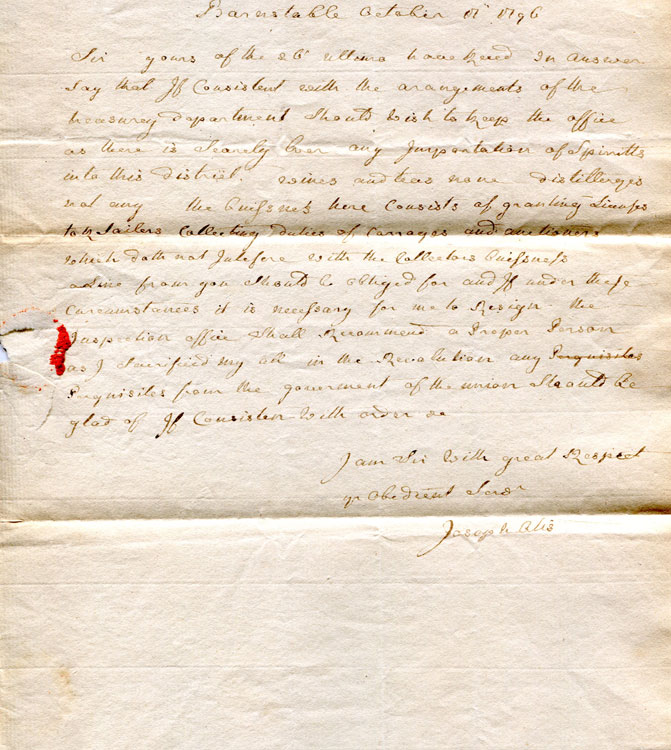 "Autograph letter signed, (""Joseph Otis"") to Jonathan Jackson (""Sir"") regarding his position as Collector of Customs. MA BARNSTABLE, Joseph Otis."