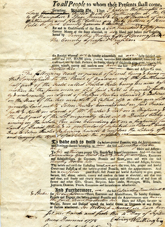 Partially printed document of Land deed in West Springfield in the Parish of Agawan, [Masachusetts]. Mass Agawan.