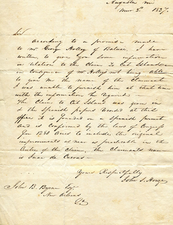 Autograph Letter, signed, to John B. Byrne, Esq. New Orleans. About Cat Island, a barrier Island off the Gulf Coast of Mississippi. Mississippi, John S. Houze.