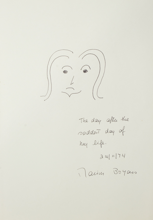 """Self Portrait, with """"The day after the saddest day of my life."""" beneath it. Marion Boyars."""