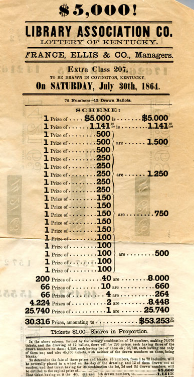 "Broadside: ""$5,000! Library Association Co. Lottery of Kentucky. France, Ellis & Co., Managers. Class 207 to be drawn in Covington, Kentucky on Saturday, July 30th, 1864."" Kentucky Lottery."