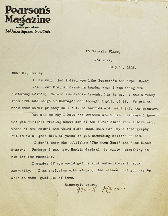 Typed Letter, signed, to E.C. Barney of Milwaukee, Wisconson, about Stephen Crane. Stephen Crane, Frank Harris.