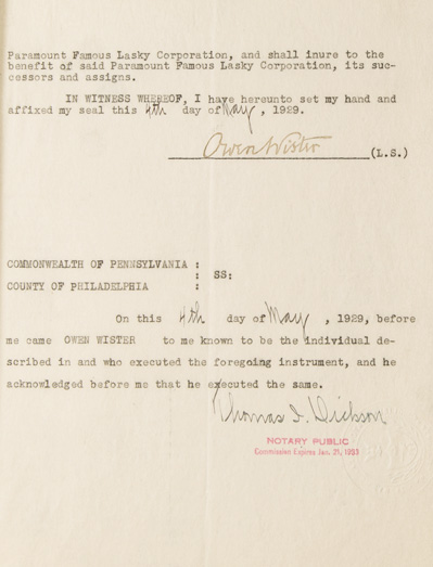 """Document, signed (""""Owen Wister""""), being an agreement between Paramount and Wister. Owen Wister."""