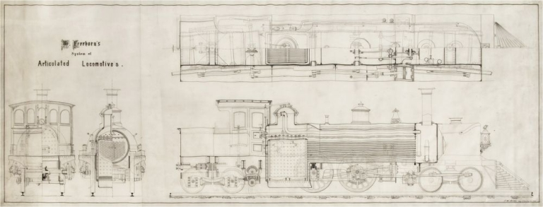"""""""W. Freeborn's system of Articulated Locomotives"""": detailed engineering drawing, pen and ink on thin prepared translucent cloth, signed """"J.H. Müller Eng. 25 Chambers Str. del"""". Railroads."""