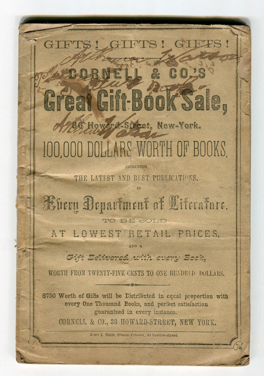 Cornell & Co.'s Great Gift-Book Sale...100,000 dollars worth of books...to be sold at Lowest Retail Prices and a Gift Delivery with Every Book