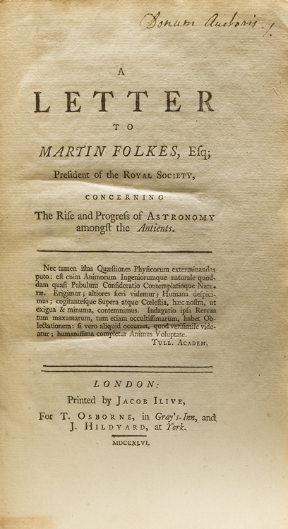 A Letter to Martin Folkes, Esq; President of the Royal Society, Concerning the Rise and Progress of Astronomy amongst the Antients. George Costard.