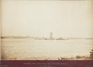 Three vintage photographs documenting the detonation of Flood Rock in the East River, October 10, 1885. New York, photographer Baab.
