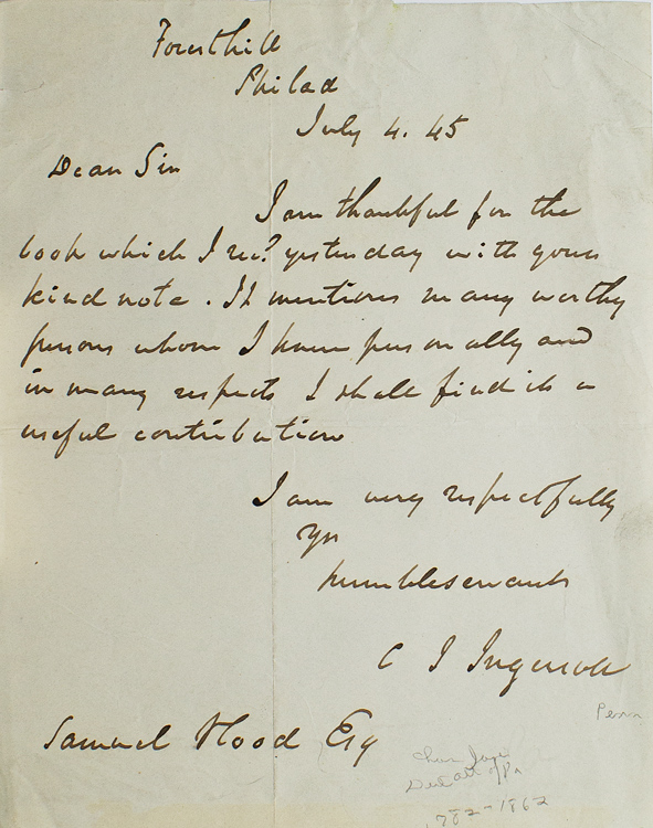 ALS. To Samuel Hood thanking him for abook. Charles Jared Ingersoll.