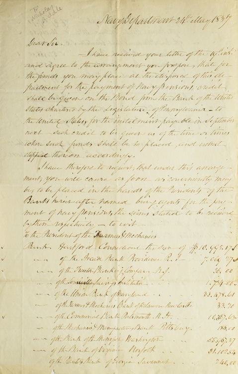 Autograph Letter Signed Secy Mahlon Dickerson To Nicholas Biddle President Of The Bank Of The United States Responding To Biddle S Proposal To Make Funds Available For Navy Pensions Navy