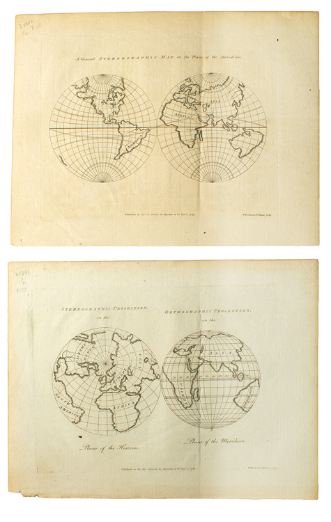 Two engraved maps. Stereographic Maps, T. I. Woodman, H. Mutlow.