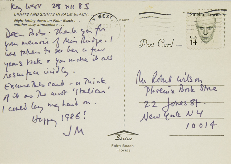 Group of 12 autograph postcards and notes and one typewritten note, all signed, to Robert Wilson, proprietor of the Phoenix Book Shop in New York City. James Merrill.
