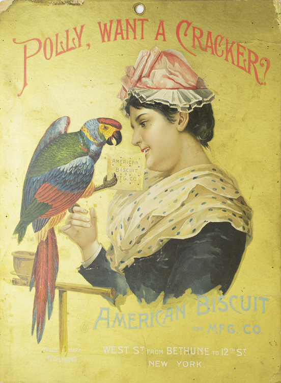 """Chromolithographic Broadside """"Polly , want a cracker?"""" American Biscuits."""