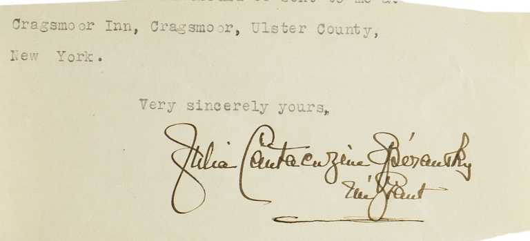 "A collection of four letters signed (""Julia Cantacuzène Spiransky nee Grant"") to Cyrus H.K. Curtis (""Dear Mr. Curtis""), and one clipped signature. Princess Cantacuzene Spiransky, Julia Dent Grant."