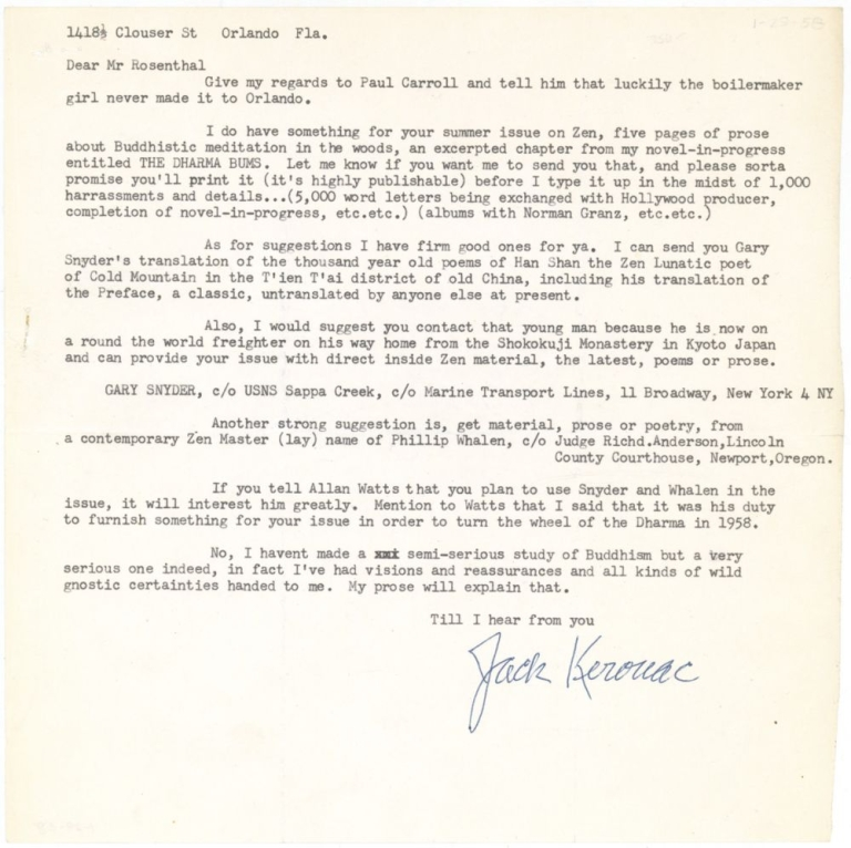 "Typed Letter, signed (""Jack Kerouac""), to Irving Rosenthal of the Chicago Review. Jack Kerouac."