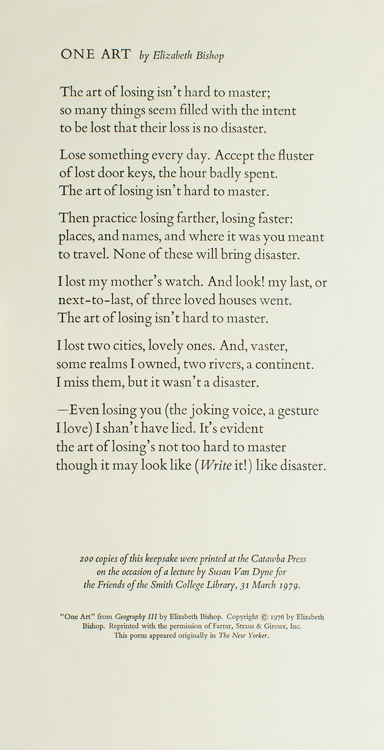 One Art. Elizabeth Bishop.