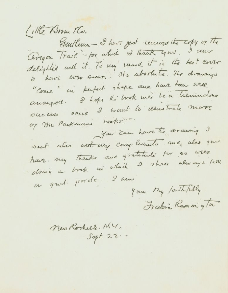 """Autograph Letter, signed (""""Frederic Remington""""), to his publishers, Little, Brown. Frederic Remington."""