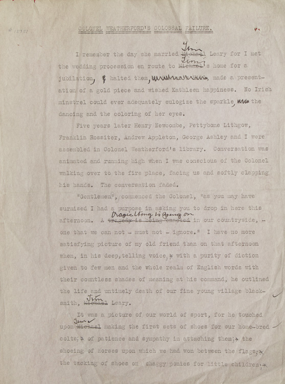 "Original corrected typescript page from the manuscript of ""Colonel Weatherford and His Friends"". Gordon Grand."