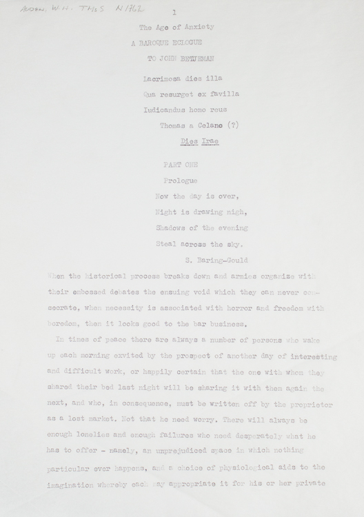 """Typescript, Signed of """"The Age of Anxiety, A Baroque Eclogue"""" prepared by a collector and signed by Auden at the end. W. H. Auden."""