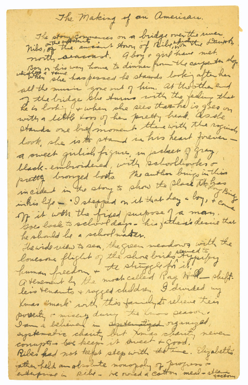Autograph Manuscript Draft Outline of The Making of an American. Jacob Riis.